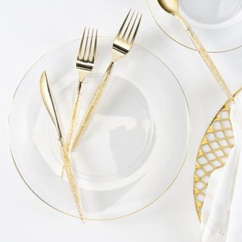 Round Clear • Gold Plastic Plates | 10 Pack
