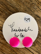 Handmade By Em Stud Earrings Hot Pink