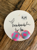 Handmade By Em Stud Earrings Blue Meets Pink