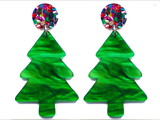 Raffish Studio Christmas Tree Earrings Green