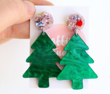 Raffish Studio Christmas Tree Earrings Green Pink Shimmer