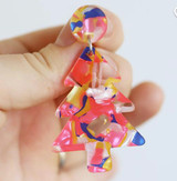 Raffish Studio Christmas Tree Earrings Pink Multi