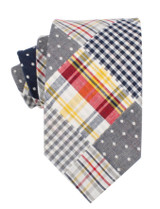 Navy Gingham Pattern Neck Tie