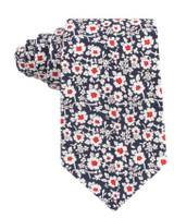 Navy Red Flower Neck Tie