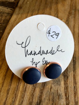 Handmade By Em Stud Earrings Navy