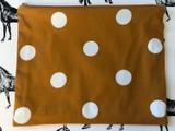 Clutches & Co Handmade Fabric Clutch Large Caramel Spot