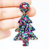 Raffish Studio Christmas Tree Earrings Rainbow Glitter
