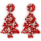 Raffish Studio Christmas Tree Earrings Red