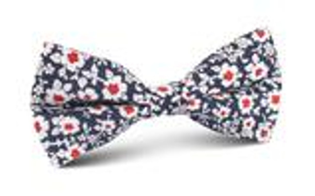 New York Navy Floral Bow Tie