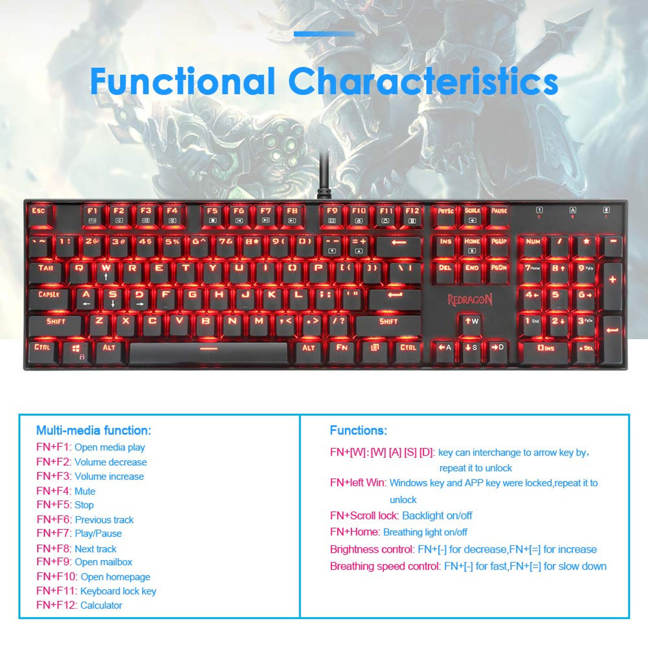 Redragon K551 MITRA 104 Key LED Backlit Mechanical Keyboard with Blue Switches