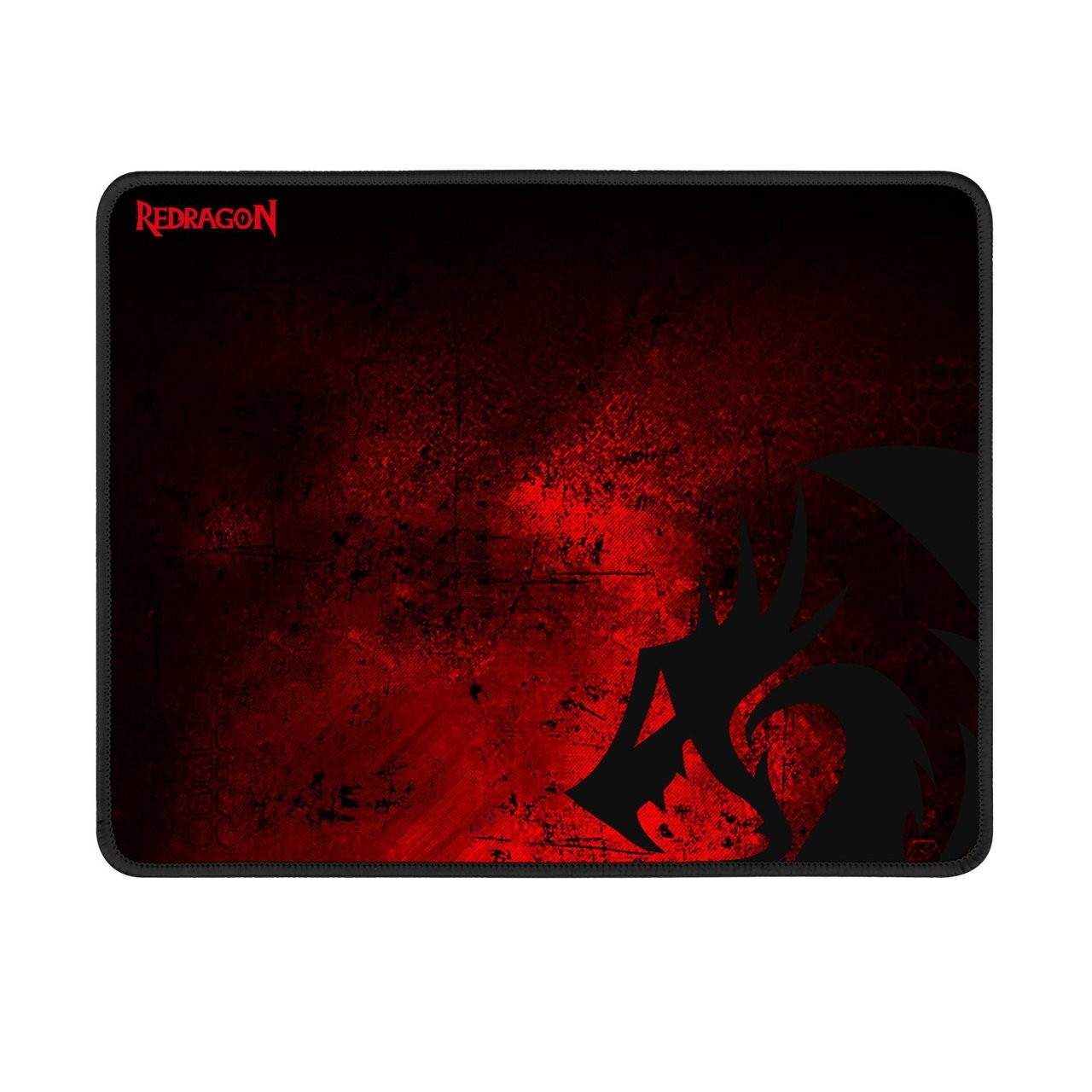 Redragon P016 Gaming Mouse Pad, Large 13 x 10.2 x 0.1 Inches, Stitched Edges, Waterproof, Black Red Dragon Design, Pixel-Perfect Accuracy Optimized for All MMO Computer Mouse Sensitivity and Sensors