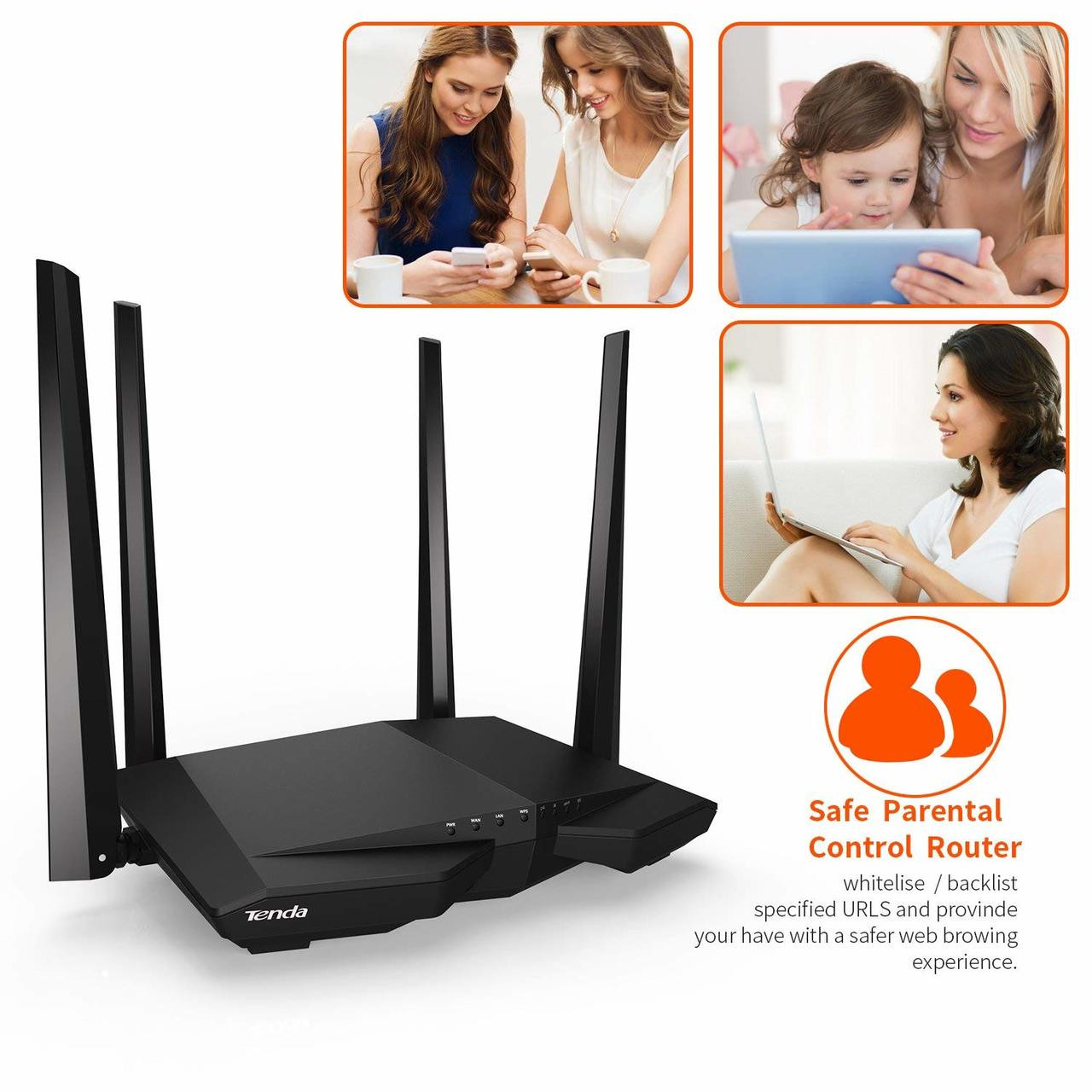 Tenda AC1200 AC6 Dual Band WiFi Router, High Speed Wireless Internet Router with Smart App, MU-MIMO for Home (AC6)