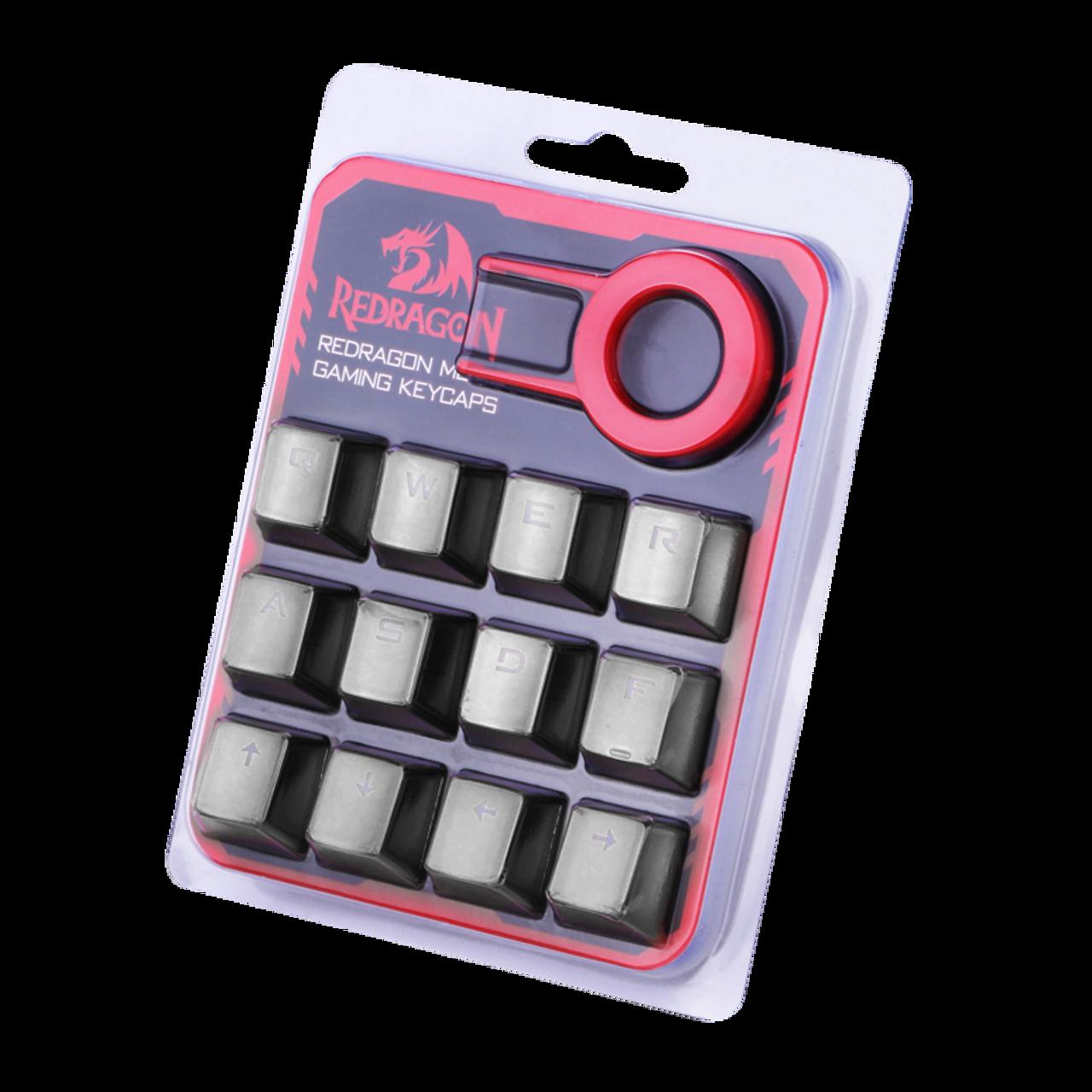 Redragon A103GR Mechanical Keyboard Caps 12 Chrome keycaps QWER, ASDF,  WASD, ARROW Keys MX Style with Key puller - Grey