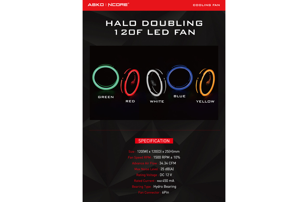 ABKONCORE FAN For Gaming Case 3in1 KIT DOUBLE RING LED Fans, RED, GREEN, BLUE