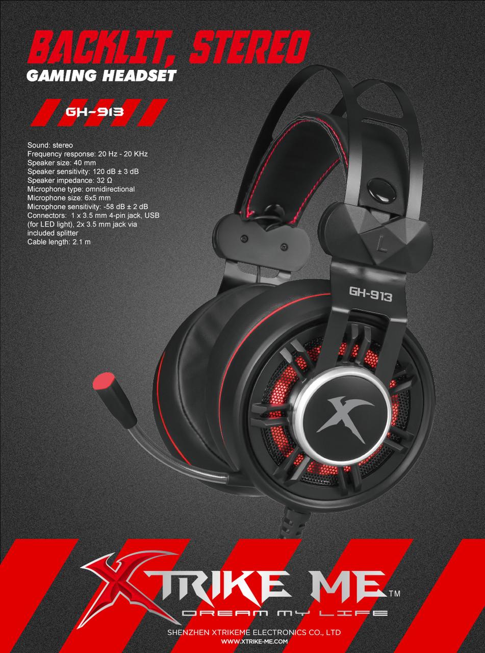 Xtrike GH-913 BK Wired Gaming Headphone