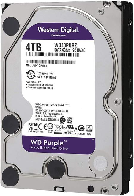 """WD Purple 4TB Surveillance Hard Drive - 5400 RPM Class, SATA 6 Gb/s, 64 MB Cache, 3.5"""" - WD40PURZ"""