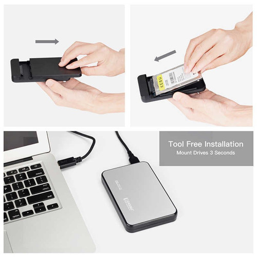 "KESU 2.5"" SATA to USB 3.0 Tool-Free External Hard Drive Enclosure Compatible with SSD"