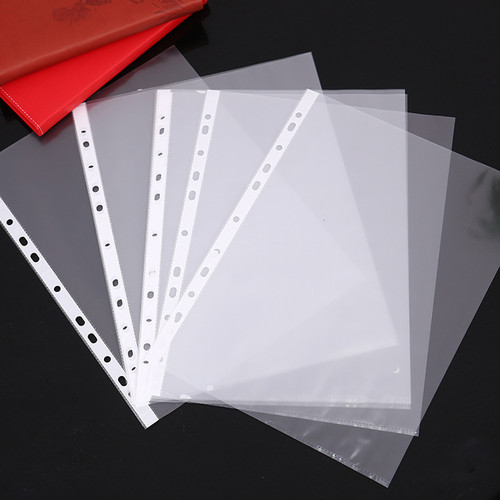 OBO 100 Sheets Clear Loose Leaf A4 Paper File Letter Sheet Protectors, 11 Holes fit all ring binders (0.03mm)