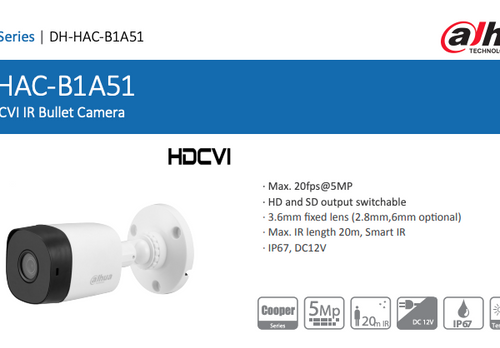 Dahua 5MP HDCVI IR Bullet Camera DH-HAC-B1A51 Outdoor Camera