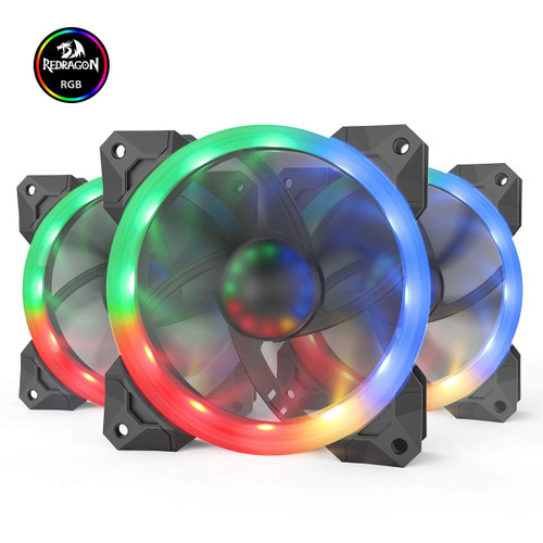 Copy a Product - Redragon GC-F008 Computer Case 120mm PC Cooling Fan, RGB LED Quiet High Airflow Adjustable Color LED Fan, CPU Cooler and Radiators (3 Packs)