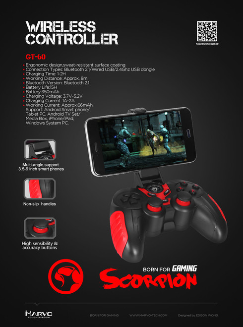MARVO SCORPION GT-60 WIRELESS MULTI-PLATFORM GAMEPAD