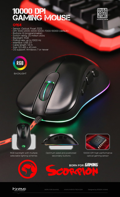 MARVO SCORPION G954 BACKLIT, OPTICAL GAMING MOUSE