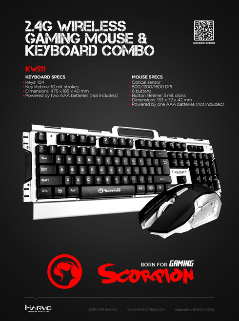 MARVO SCORPION KW511 WIRELESS GAMING COMBO