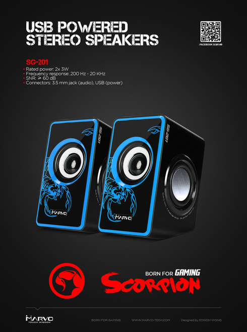 MARVO SCORPION SG-201 USB POWERED STEREO SPEAKERS