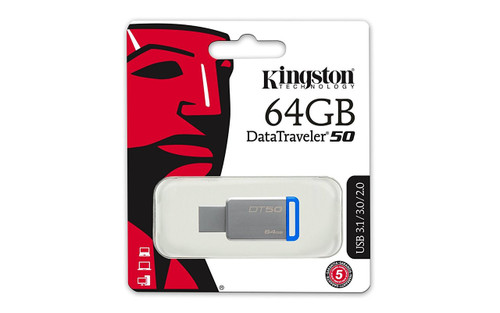 Kingston Digital 64GB USB 3.0 Data Traveler 50, 110MB/s Read, 15MB/s Write (DT50/64GB)
