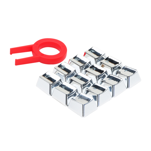 Redragon A103S Mechanical Keyboard Caps 12 Chrome keycaps QWER, ASDF, WASD, Arrow Keys MX Style with Key Puller - Silver