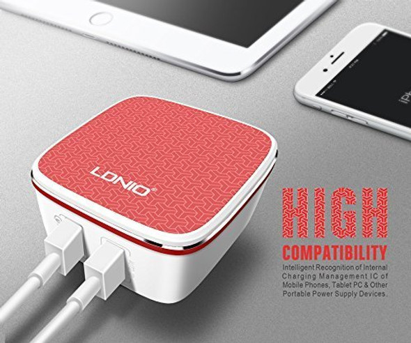 LDNIO A2405Q Qualcomm 2.0 Quick Charge Dual USB with AUTO-ID and Micro USB Cable