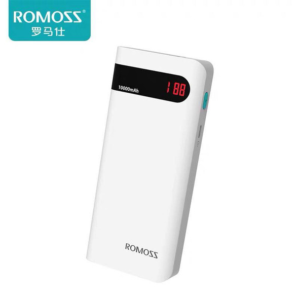 ROMOSS Sense PH50 4P LCD 10000mAh External Battery Pack Power Bank smart Charging - White