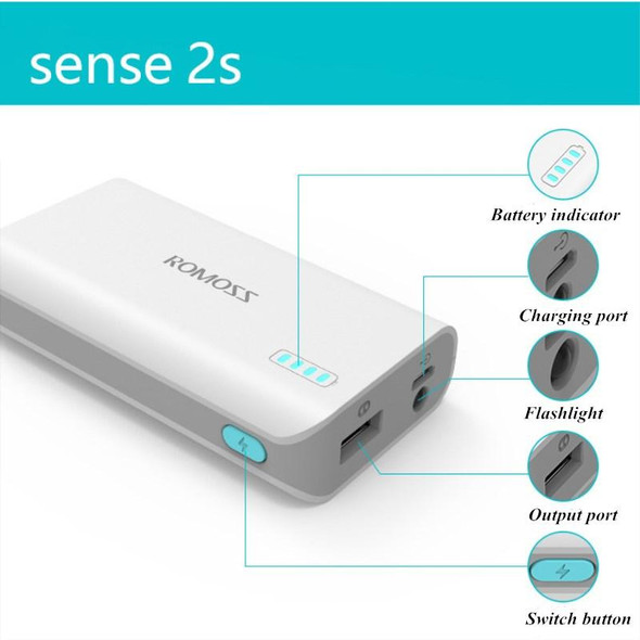 Romoss Sense 2s 5000mAh With Flashlight Original Authentic Mini Power Bank(White)SENSE2S Your image was added to the product.
