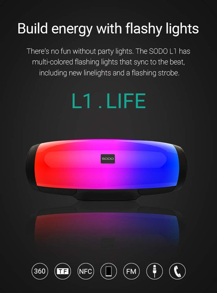 SODO L1 Life TWS NFC Multifunction 5 in 1 Speaker with Light Effects