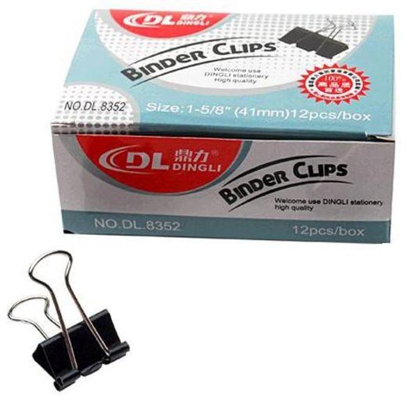 "Dingli Premium Binder Clips 41mm 1-5/8"" 12pcs/box"
