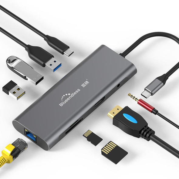 Blueendless HC401 9-in-1 Type-C to 3 USB 3.0 HDMI SD TF ???????????????? Reader Data Hub