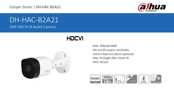Dahua AHD 2M DH-HAC-B2A21 Outdoor Camera
