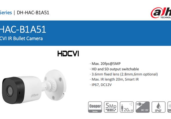 Dahua 5MP HDCVI IR Bullet Camera DH-HAC-B1A51 Outdoor Camera