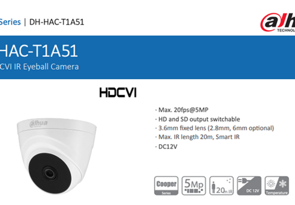 Dahua HDCVI 5MP IR Indoor Camera| 3.6mm Fixed Lens | DH-HAC-T1A51