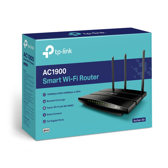 TPLink AC1900 Smart WiFi Router - High Speed MU- MIMO Wireless Router, Dual Band, Gigabit, VPN Server, Beamforming, Smart Connect, Works with Alexa (Archer A9), Black