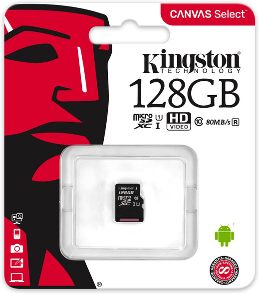 Kingston Canvas Select (SDCS/128GBSP) MicroSD Class 10 UHS-I Speeds Up to 80 MB/s Read (Card only) - Bring Your HD Videos to Life