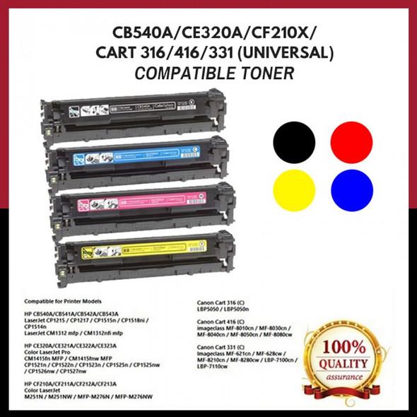 Compatible Toner 125A 128A 131A HP Compatible LaserJet Toner Cartridge ( CF210A, CF211A, CF212A, CF213A ), BLACK, CYAN, YELLOW, MAGENTA