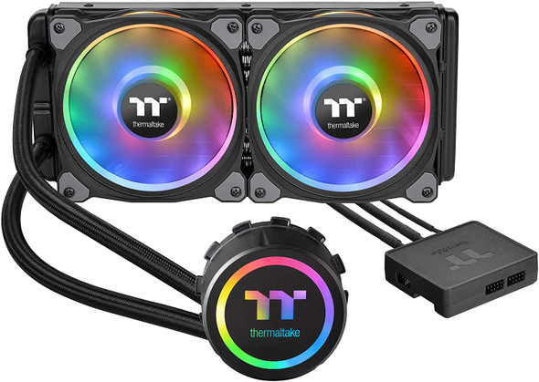 Thermaltake Floe DX 240 Dual Riing Duo 16.8 Million Colors RGB 36 LED LGA2066 AM4 Ready Intel/AMD Liquid Cooling All-in-One CPU Cooler CL-W255-PL12SW-