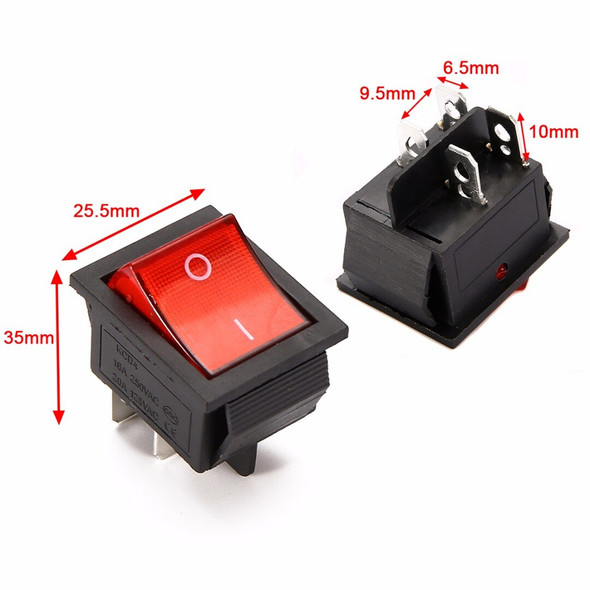 Red Lamp Light Rocker Switch with 4 Pin ON/OFF 2 Position 16A/250V For Switch Tools  مفتاح تشغيل / إيقاف بلمبه - أحمر