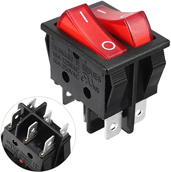 Rocker Power Switch 16A 250V AC 6 Pin 2 Position ON/Off Power Switch Red Button with Light