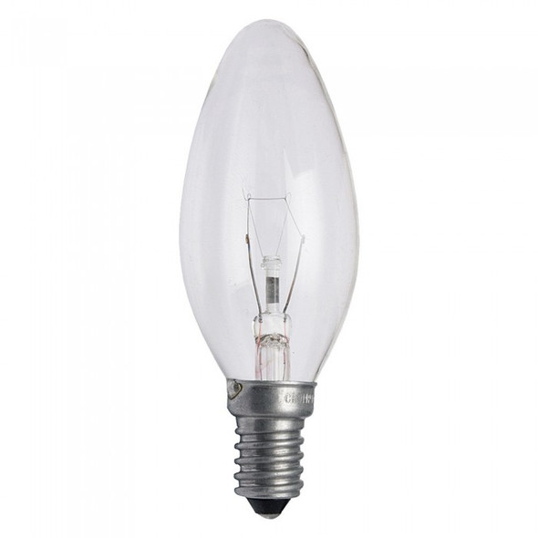Tungsram Light Bulb - 40w E14 240v Candle Design - Clear , لمبة 40 وات شمعة