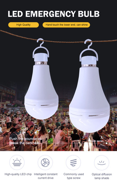 Smart emergency LED Bulb Light, outdoor camping rechargeable 9 watt led bulb lamp