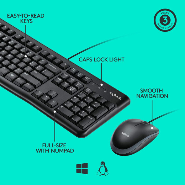 Logitech Desktop MK120 Durable, Comfortable, USB Mouse and keyboard Combo