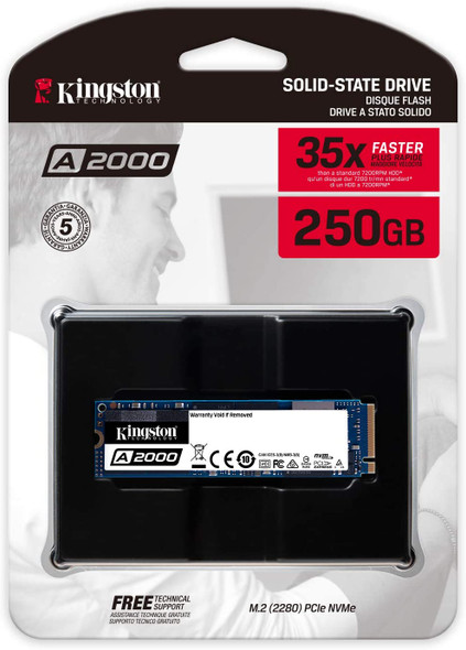 Kingston 250GB A2000 M.2 2280 Nvme Internal SSD PCIe Up to 2000MB/S with Full Security Suite SA2000M8/250G