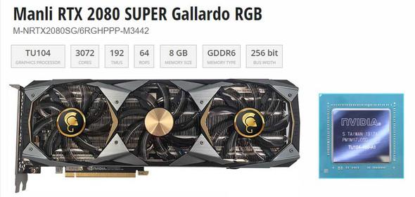 VGA MANLI GeForce RTX2080 Super 8GB DDR6 256 bit Triple Fan Graphic Card
